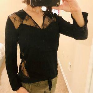 COMPTOIR DES COTONNIERS Black lace blouse